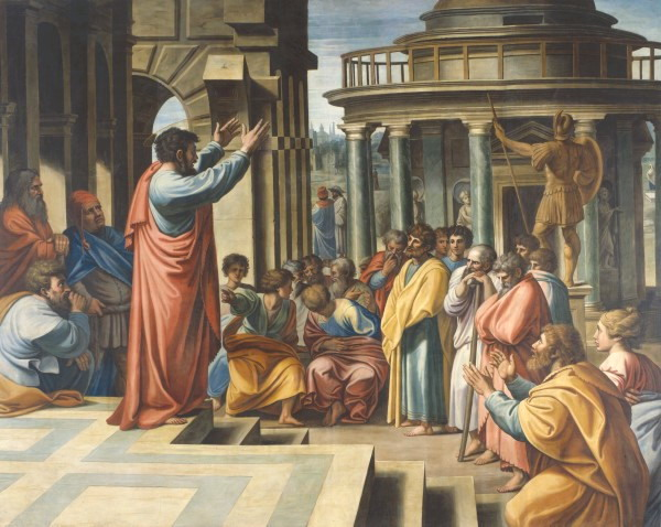St. Paul preaching in the town square