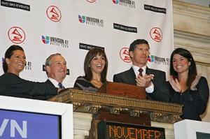 Celebrities on the New York Stock Exchange Opening Bell platform last year