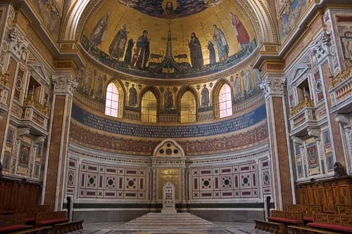 The Pope's cathedra in the apse of the Lateran Basilica