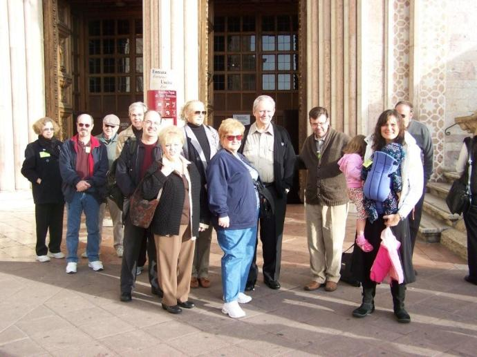 In front of the Basilica of St. Francis in Assisi (Fr. White mommy on the far left)