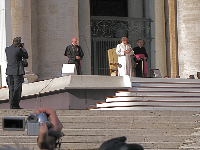 We were this close to His Holiness (actually, we were even closer when he drove by in the popemobile).