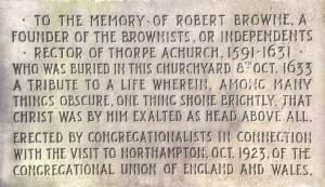 Robert Browne Memorial, in a Congregationalist churchyard in England
