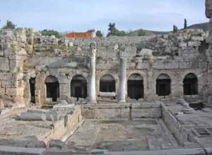 Ancient Roman fountain in Corinth