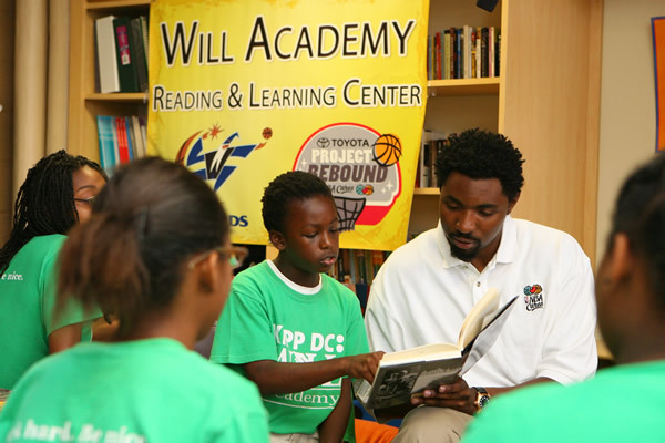 Roger Mason, Jr. at a Washington reading room, back when he was on the Wizards