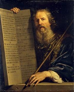 Mozes met de Tien Geboden en een ganzenveer.