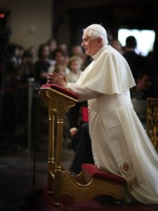 Pope Benedict praying in Prague on Saturday