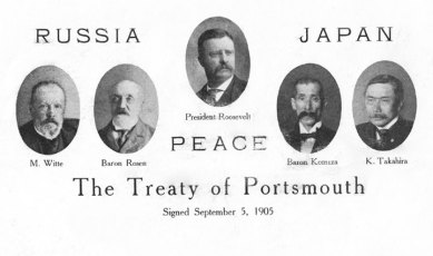 Treaty of Portsmouth postcard in which Teddy Roosevelt preceded over.