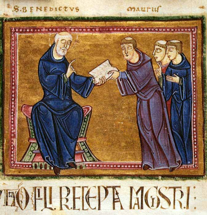 St. Benedict delivering the rule