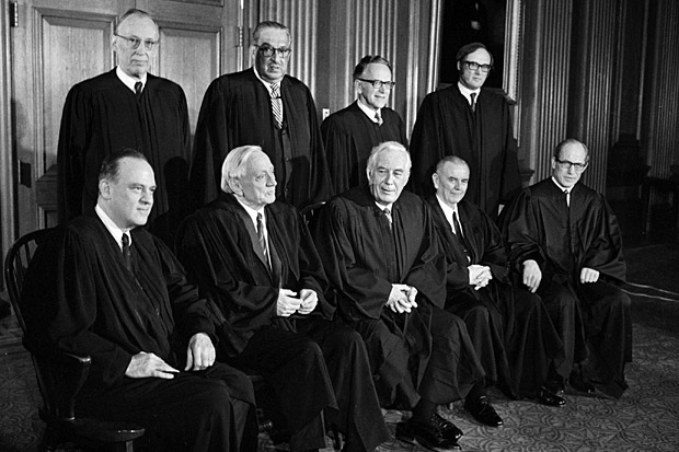 The incredibly hip Roe v. Wade court (most have since died of old age).