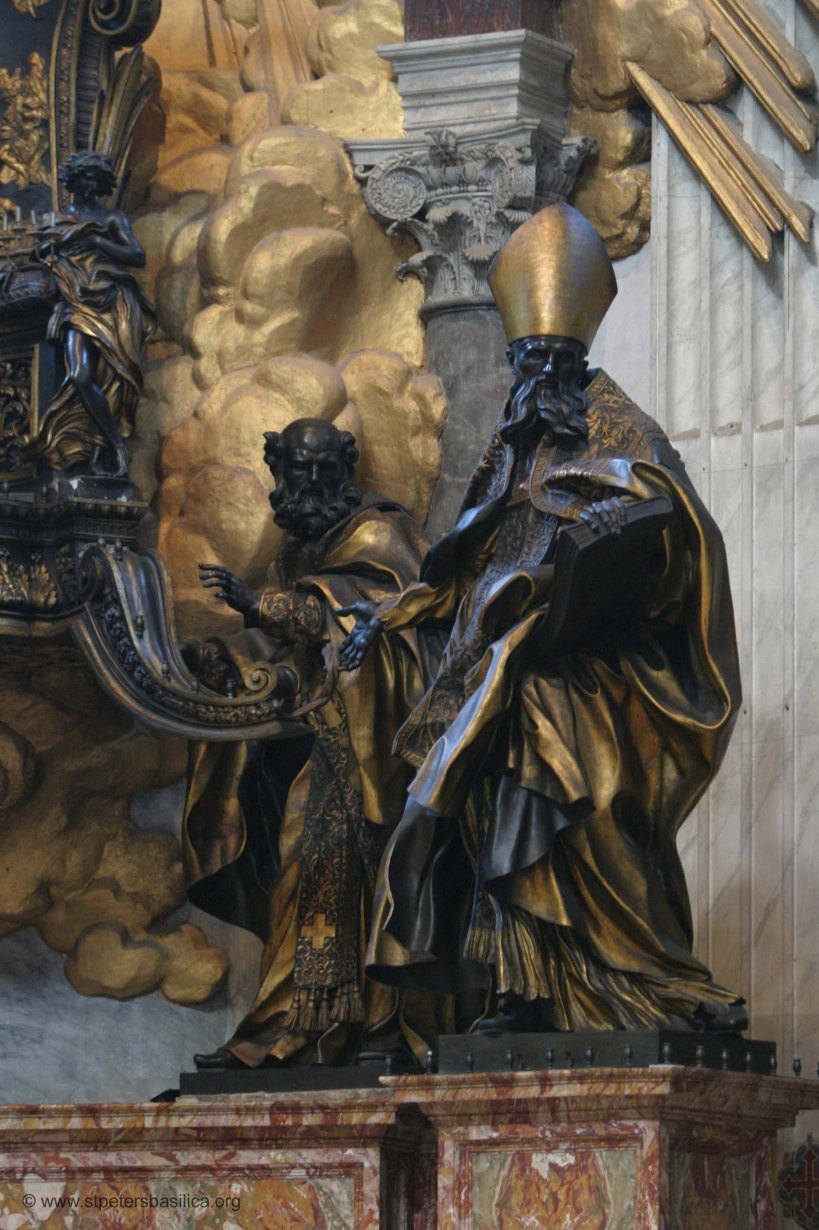 St. John Chrysostom and St. Augustine holding aloft the Chair of Peter in Roma