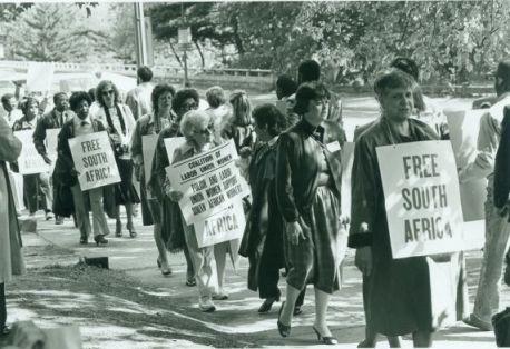 anti-apartheid demonstrators south africa embassy