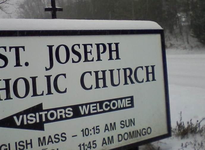 StJ sign snow