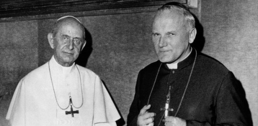 PAUL VI AND CARDINAL WOJTYLA CONVERSE AT VATICAN