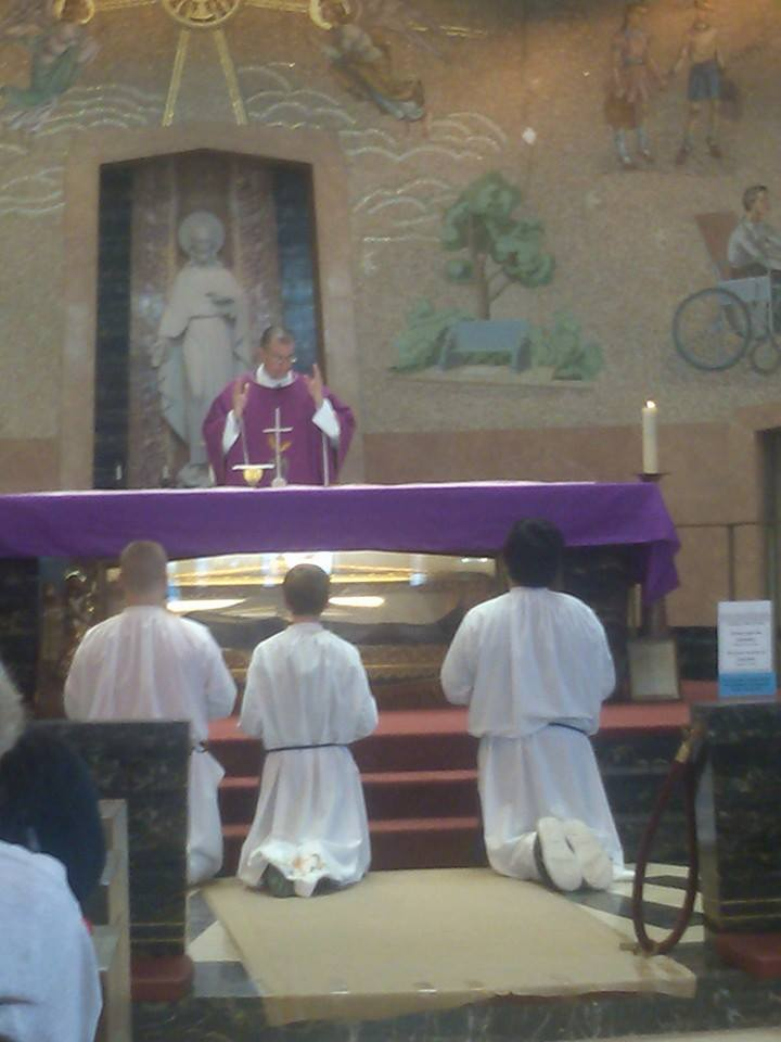 Holy Mass on Mother Cabrini's tomb.  She was beatified 76 years ago today!