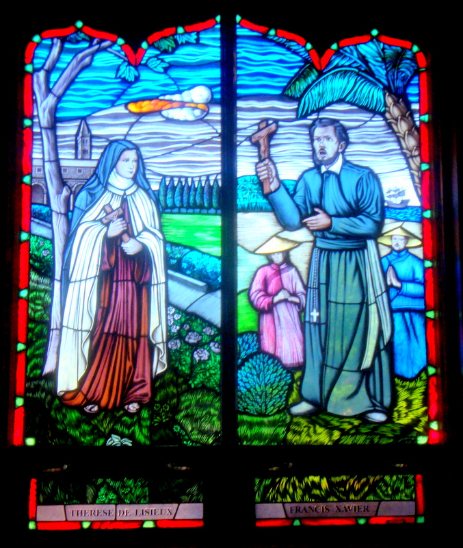 Francis Xavier Therese stained glass