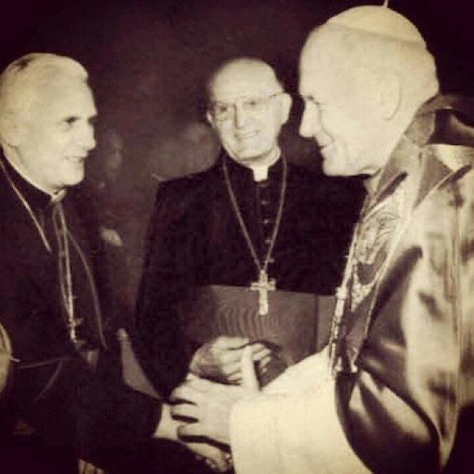 Pope John Paul II and Cardinals Ratzinger and Bergoglio