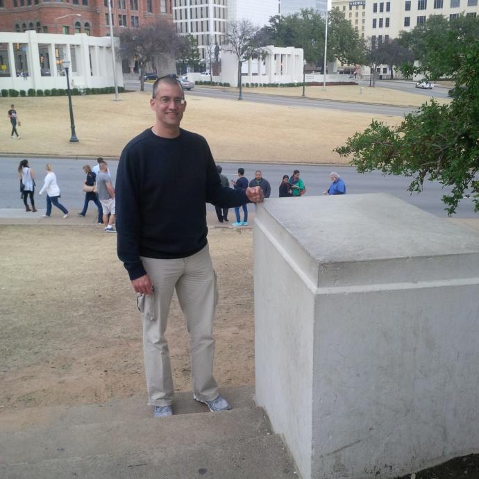 WPA-built plinth where Zapruder stood
