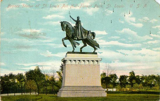 Old StL postcard with King Louis statue