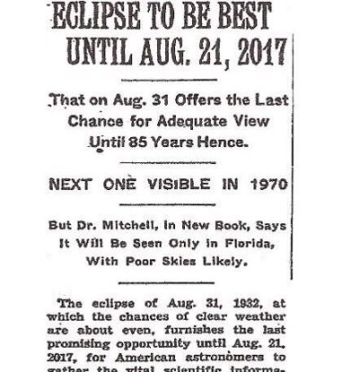 New York Times 1932 on 2017 eclipse