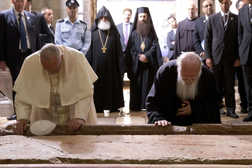 Pope Francis Patriarch Bartholomew Holy Sepulchre