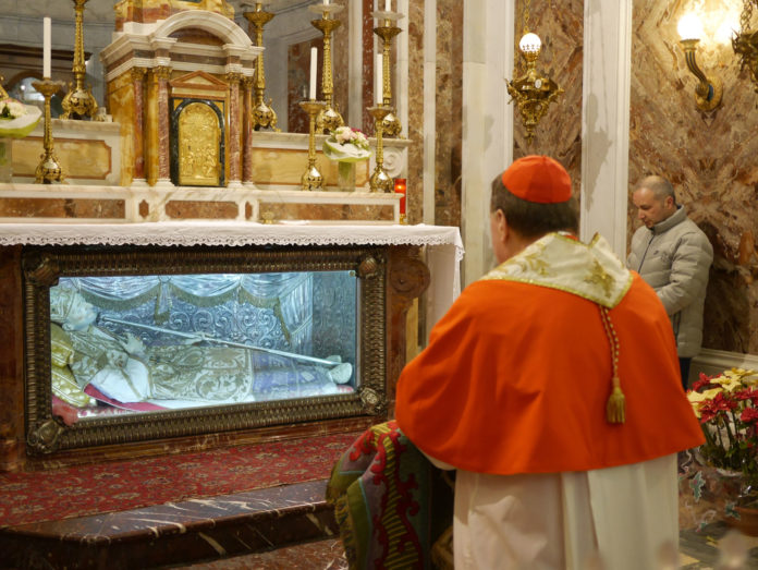 Cardinal Tobin at the Basilica of St Alphonsus in Pagani Italy