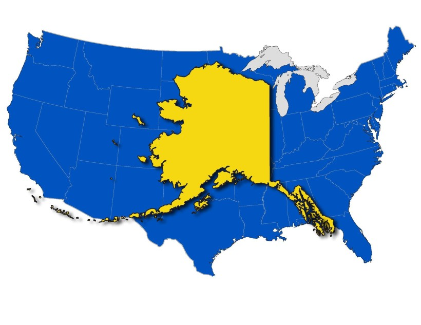 Alaska on the lower 48