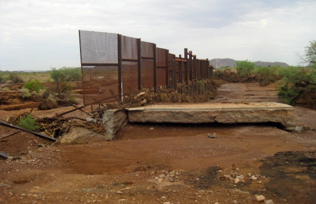 border fence rainwater damage