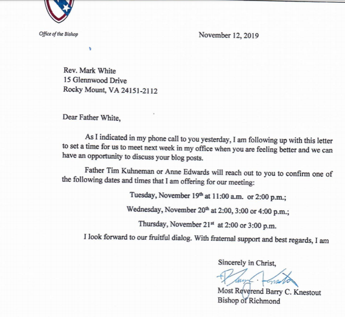 Bishop Knestout letter Nov 19