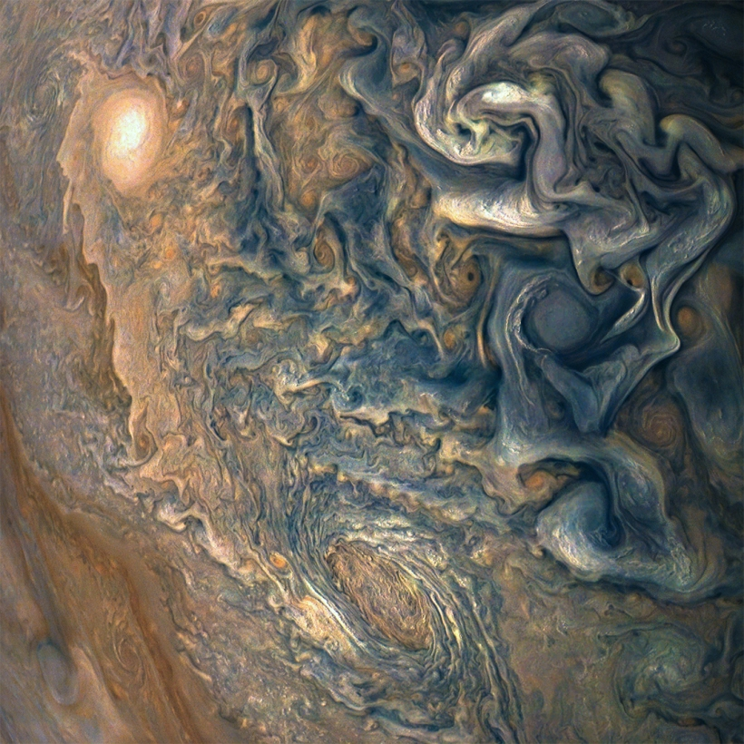 Planet Jupiter clouds from Juno space probe