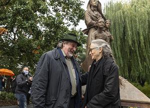 Mother Carini statue NYC w sculptors