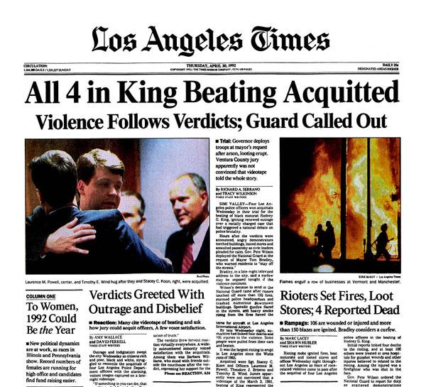 LA Times Rodney King verdict front page